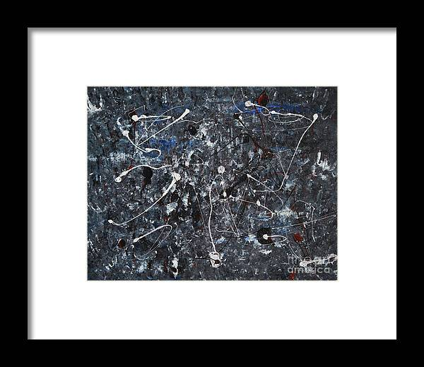 Splatter Framed Print featuring the painting Splattered - Grey by Jacqueline Athmann