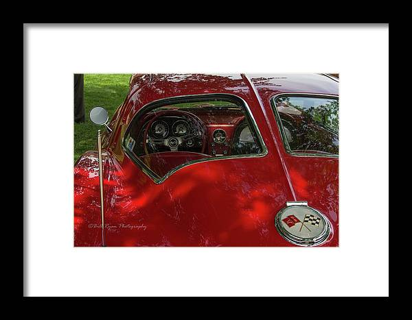 Red Framed Print featuring the photograph Split Roof Corvette by Bill Ryan