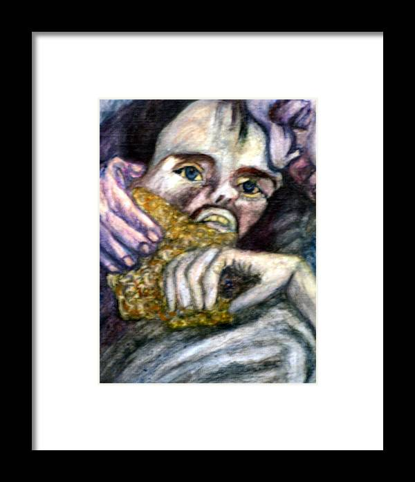 Spiritual Portrait Framed Print featuring the painting Sponge Christ Your Eyes by Stephen Mead