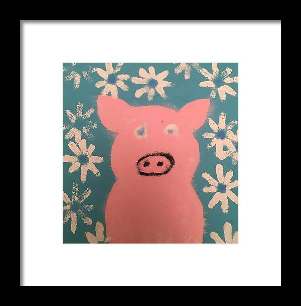 Pig Framed Print featuring the painting Sponge Pig by Catherine Poag