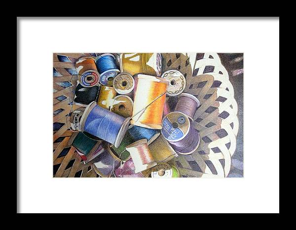 Still Life Framed Print featuring the painting Spools by Bonnie Haversat