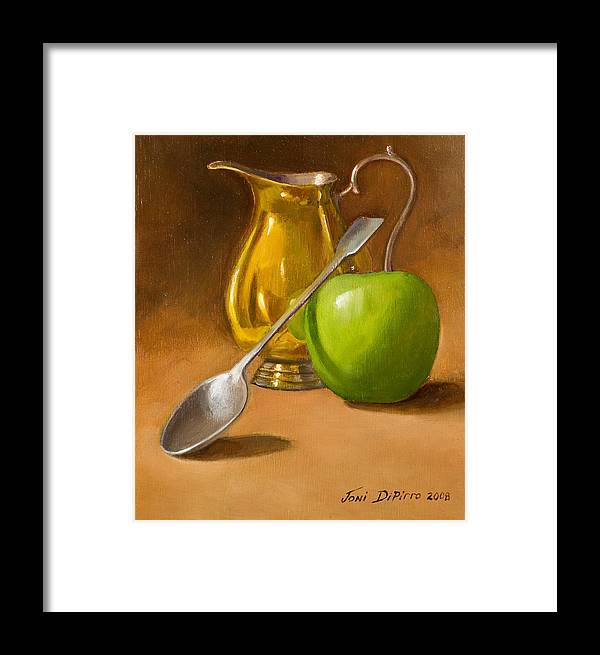 Sill Life Framed Print featuring the painting Spoon And Creamer by Joni Dipirro