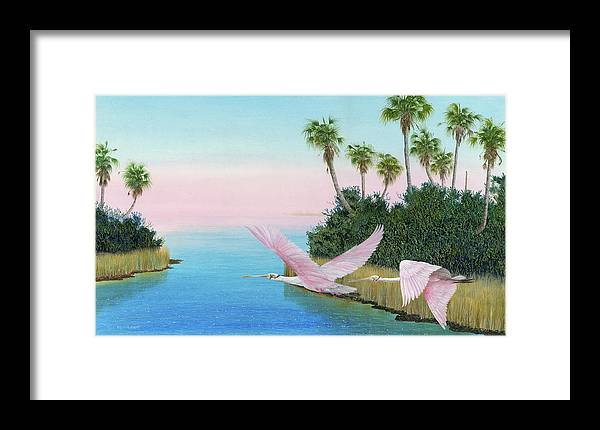 Spoon Bill Framed Print featuring the painting Spoonbills In Flight by Kevin Brant