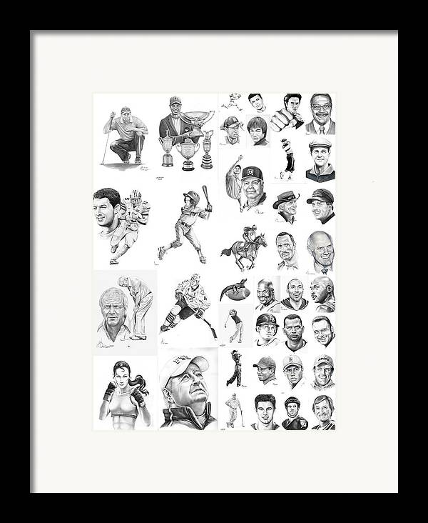 Pencil Framed Print featuring the drawing Sports Figures Collage by Murphy Elliott