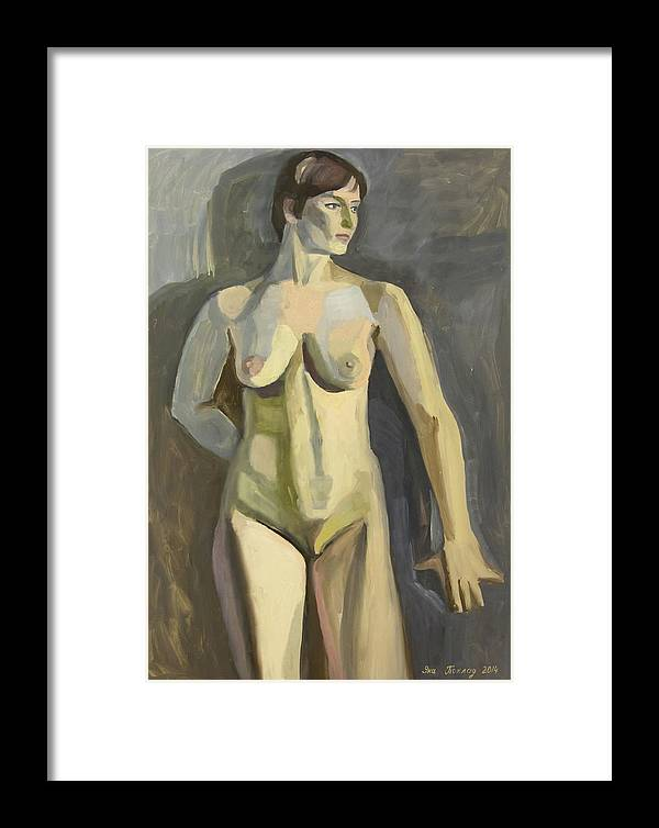 Nude Art Framed Print featuring the painting Sportswoman by Yana Poklad