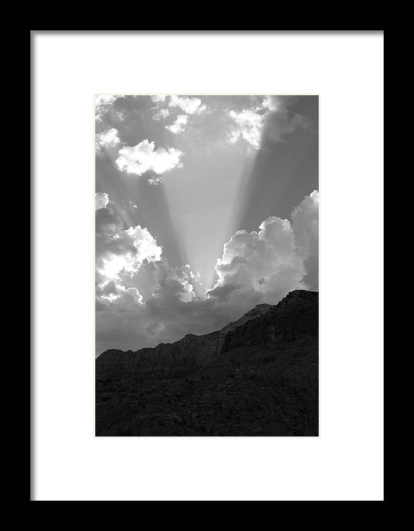 Framed Print featuring the photograph Spot Light Bw by Darren Anderson