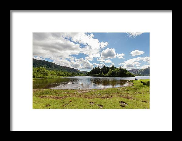 Cumbria Lake District Framed Print featuring the photograph Spot The Swimming Dog In Derwnt Water Lake by Iordanis Pallikaras