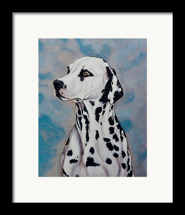 Dogs Framed Print featuring the painting Spotty by Lilly King