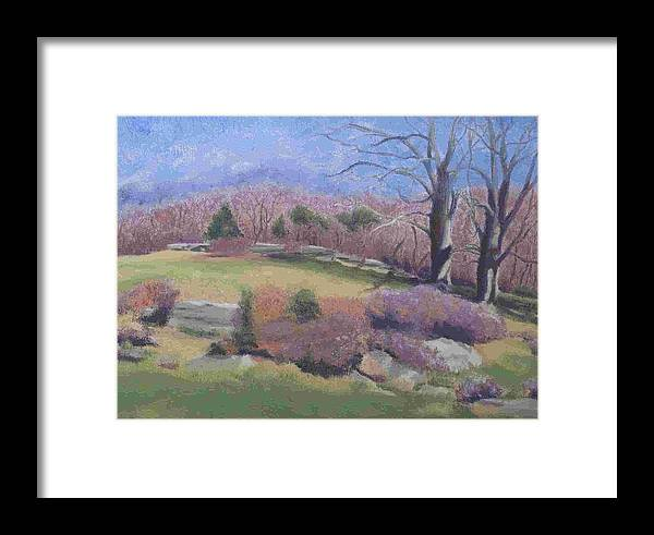Landscape Framed Print featuring the painting Spring At Ashlawn Farm by Paula Emery