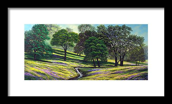 Landscape Framed Print featuring the painting Spring Bloom Table Mountain by Frank Wilson
