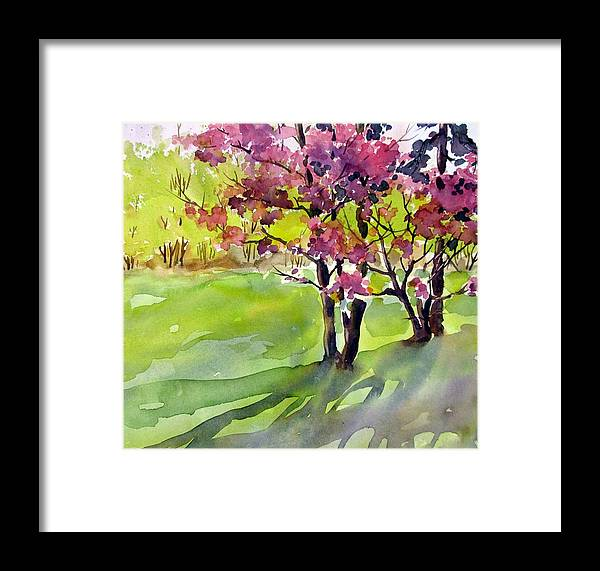 Watercolor Framed Print featuring the painting Spring Blossoms by Chito Gonzaga