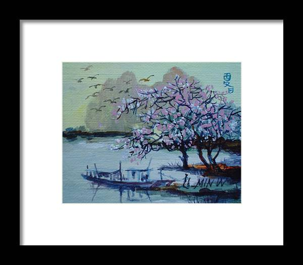 Spring Framed Print featuring the painting Spring Blossoms by Min Wang