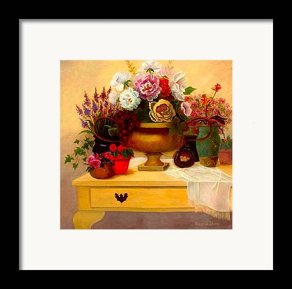Still Life Framed Print featuring the painting Spring Bouquet by Jeanene Stein