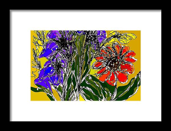 Drawing Framed Print featuring the digital art Spring bouquet by Joseph Ferguson