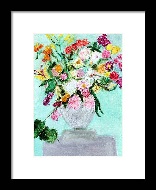 Still Life Framed Print featuring the painting Spring Bouquet by Michela Akers