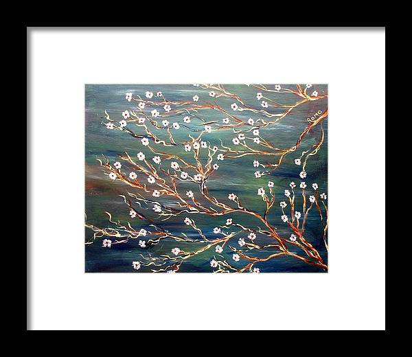 Floral Scene Framed Print featuring the painting Spring Breeze by Robin Monroe