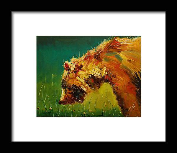 Bear Framed Print featuring the painting Spring Flower Bear by Diane Whitehead