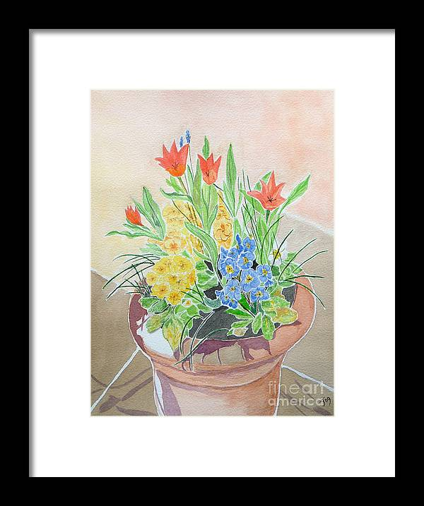 Spring Flowers Framed Print featuring the painting Spring Flowers In Pot by Yvonne Johnstone