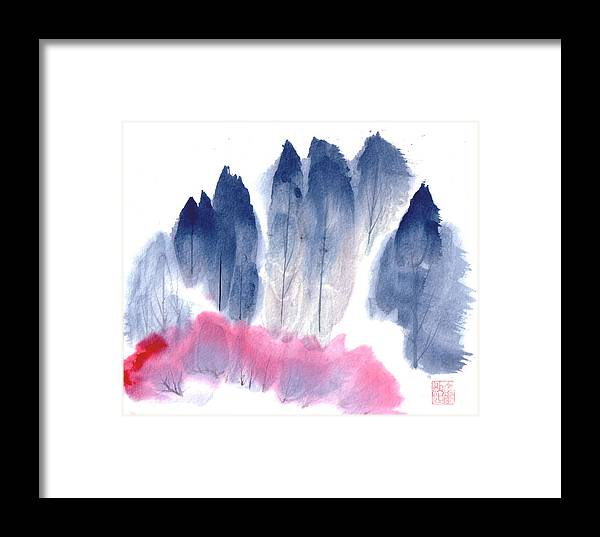 A Forest With Red Blooming Bushes In Spring. This Is A Contemporary Chinese Ink And Color On Rice Paper Painting With Simple Zen Style Brush Strokes.  Framed Print featuring the painting Spring Forest by Mui-Joo Wee