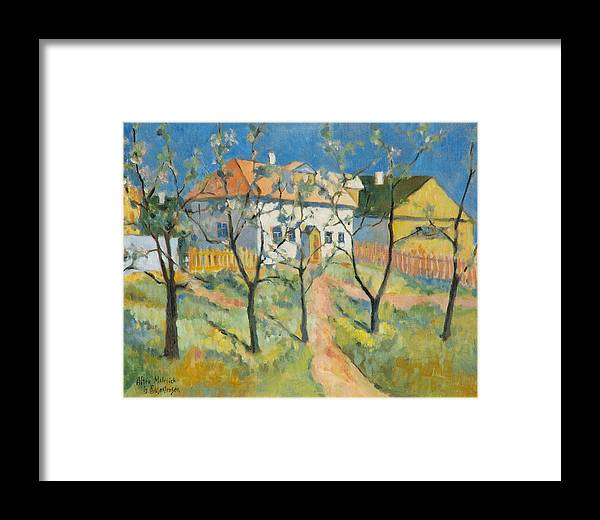 Malevich Framed Print featuring the painting Spring Garden In Bloom My Reproduction Of Malevichs Work by Ekaterina Mortensen