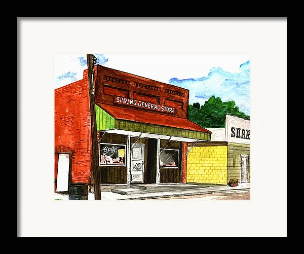 Kevin Callahan Framed Print featuring the painting Spring General Store Sharpsburgh Iowa by Kevin Callahan
