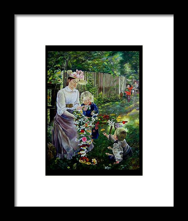 Nature And Faces - Persons Framed Print featuring the painting Spring Idyll by Netka Dimoska