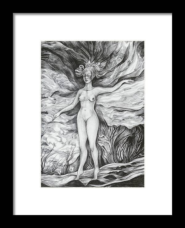 Fantasy Framed Print featuring the drawing Spring II by Anna Duyunova