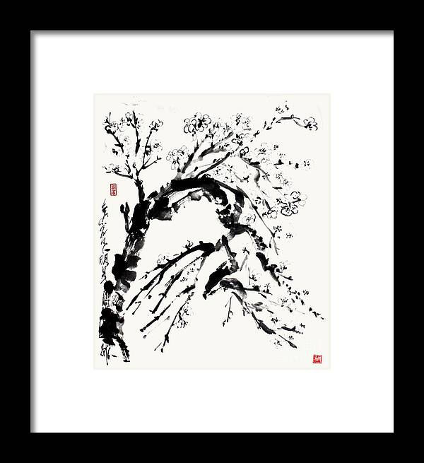 Sumi Framed Print featuring the painting Spring In Black And White - A Branch Of Almond Blossom by Nadja Van Ghelue