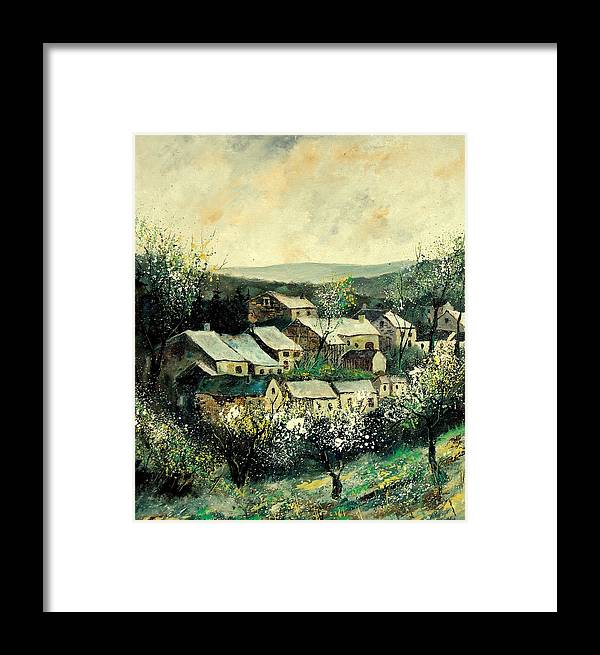 Spring Framed Print featuring the painting Spring In The Ardennes Belgium by Pol Ledent