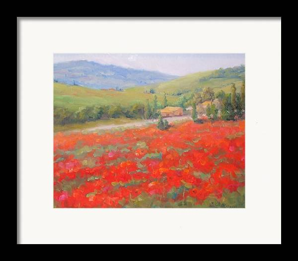 Landscape Framed Print featuring the painting Spring In Tuscany by Bunny Oliver