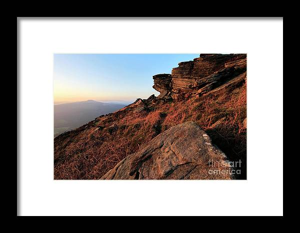 Stanage Edge Framed Print featuring the photograph Spring Landscape, Gritstone Rock Formations, Stanage Edge by Dave Porter