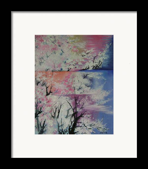 Abstract Framed Print featuring the painting Spring by Lian Zhen