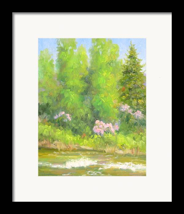 Landscape Framed Print featuring the painting Spring On Gore Creek by Bunny Oliver