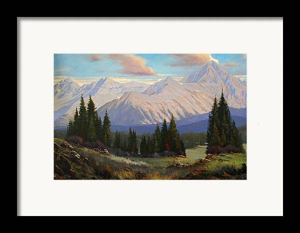 Landscape Framed Print featuring the painting Spring On The Dallas Divide 070809-3624 by Kenneth Shanika