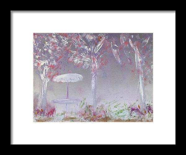 Abstract Framed Print featuring the painting Spring On The Patio by Michela Akers
