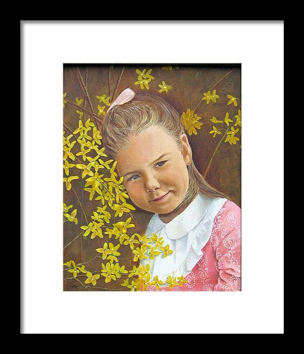 Portraits Framed Print featuring the painting Spring Peach by Donald Hofer
