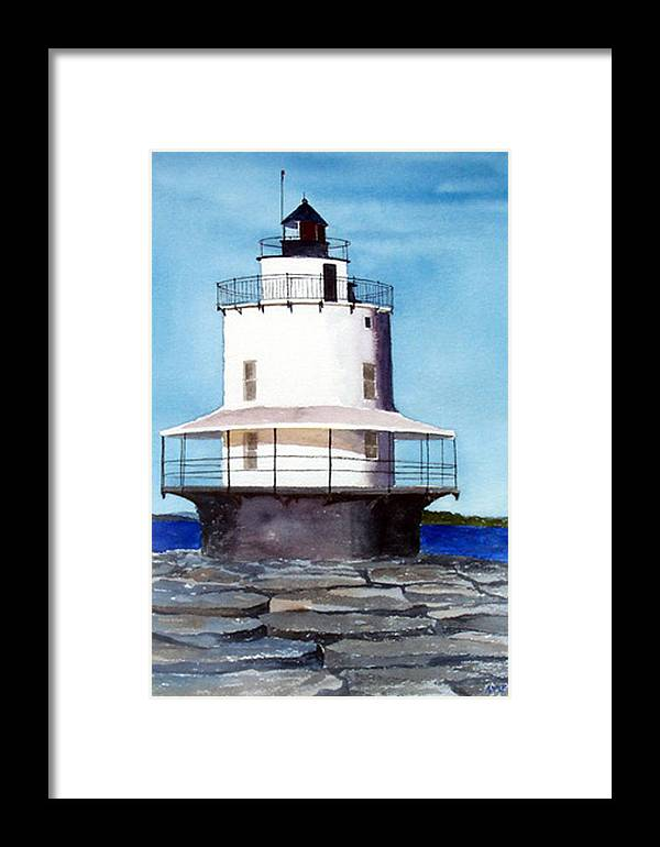 Landscape Framed Print featuring the print Spring Point Ledge Light by Anne Trotter Hodge