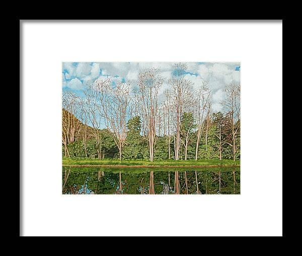 Landscape Framed Print featuring the painting Spring Pond Reflection by Allan OMarra