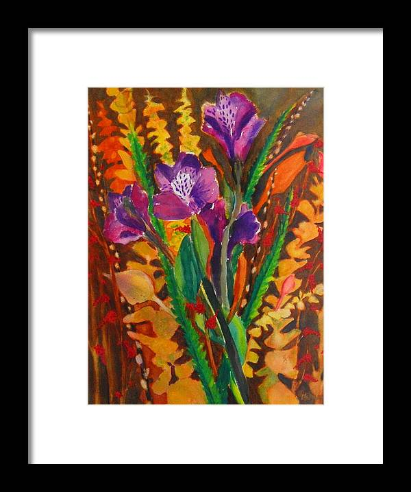 Abstract Floral Framed Print featuring the painting Spring Purple Bouquet by Henny Dagenais