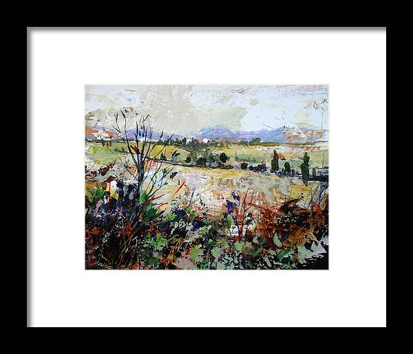 Landscape Framed Print featuring the painting Spring Rain by Dale Witherow