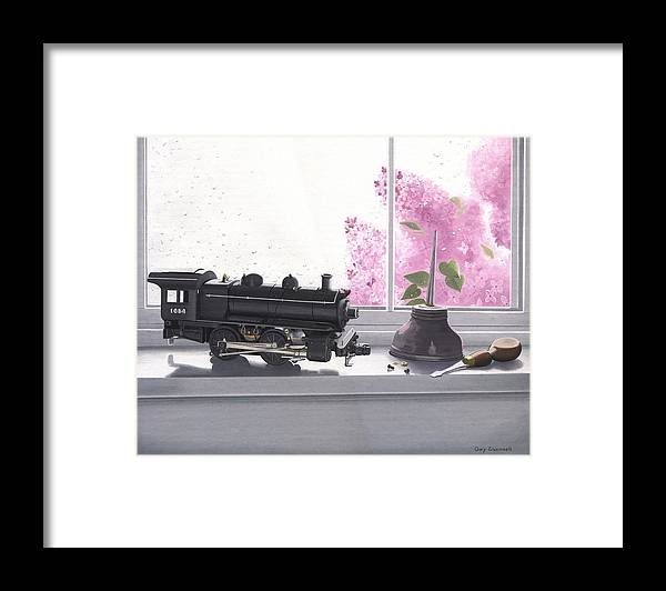 Lionel Framed Print featuring the painting Spring Rain Electric Train by Gary Giacomelli