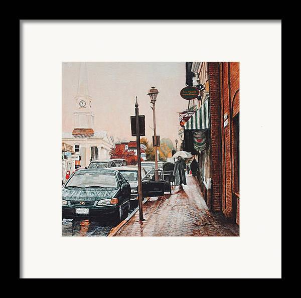Cityscape Framed Print featuring the painting Spring Rain by Thomas Akers