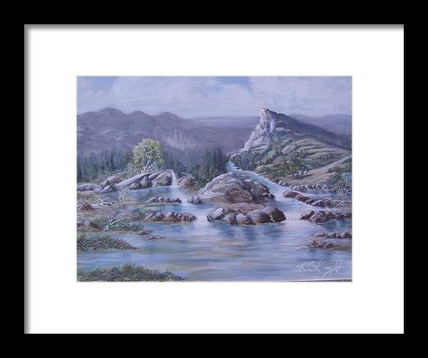 Landscape Framed Print featuring the painting Spring Runoff by KC Knight