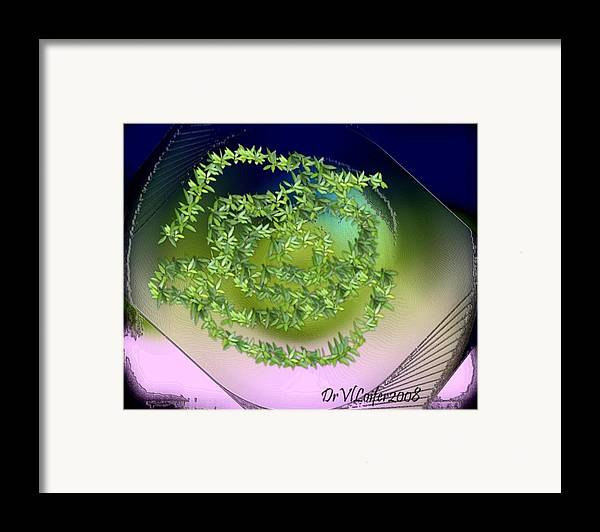 Glass.plate.leaves.salad.light.shadow.dish.kitchen.beauty.spring. Framed Print featuring the digital art Spring Salad On Glass Plate by Dr Loifer Vladimir