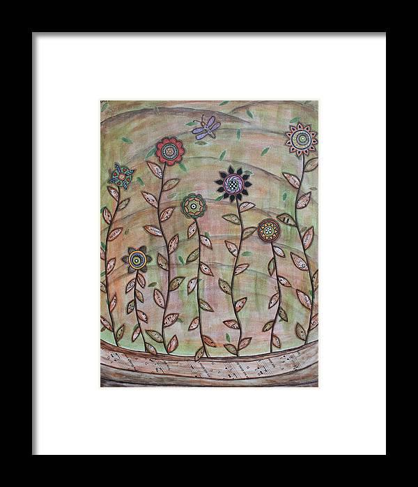 Folk Art Paintings Framed Print featuring the painting Spring Splendor by Rain Ririn