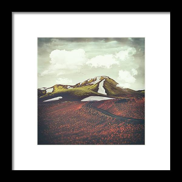 Landscape Spring Winter Dreamscape Hills Mountains Framed Print featuring the digital art Spring Thaw by Katherine Smit