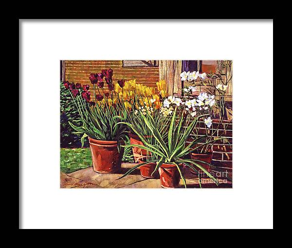 Patio Framed Print featuring the painting Spring Tulips And White Azaleas by David Lloyd Glover