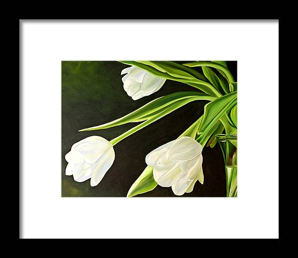 Tulips Framed Print featuring the painting Spring Tulips by Toni Grote