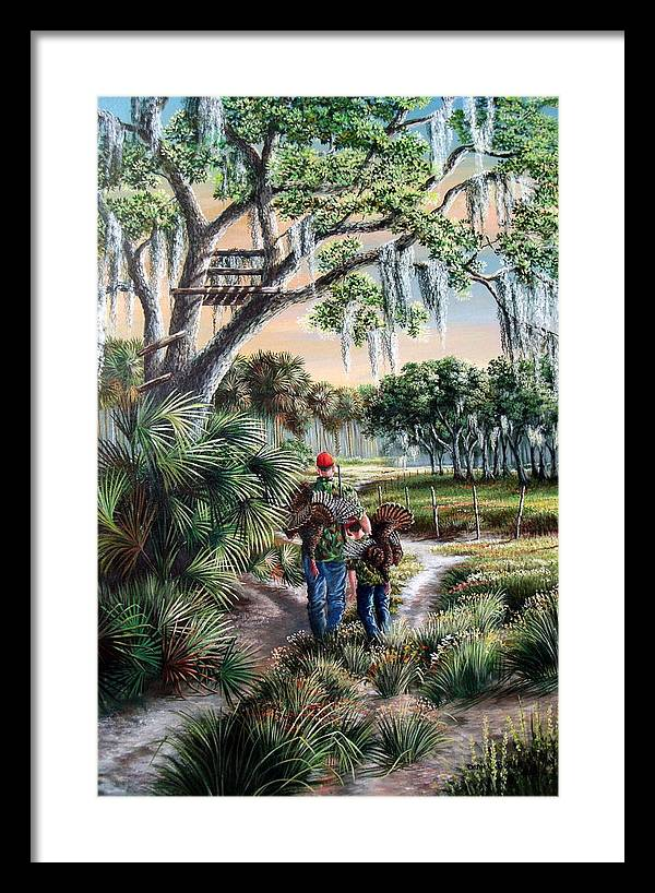 Spring Turkey Hunting - I Love You Son Framed Print by Daniel Butler