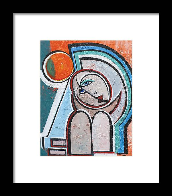 Abstract Framed Print featuring the painting Spring by Valerie Wolf